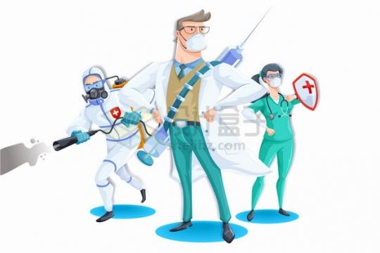 卡通医生化身超人背着针筒拿着消毒液杀灭新型冠状病毒png图片素材
