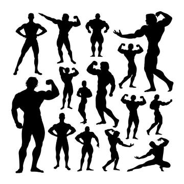 各种健美身材健身达人健身教练剪影图片免抠素材