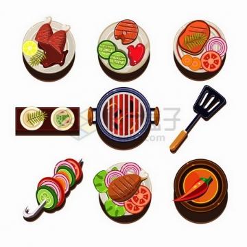 9款卡通烤肉牛排烤串烧烤架等美味美食png图片免抠矢量素材