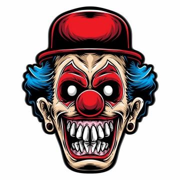 恐怖凶狠的卡通小丑头像表情png图片免抠矢量素材