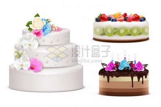 3款逼真的水果奶油蛋糕结婚蛋糕380947png矢量图片素材