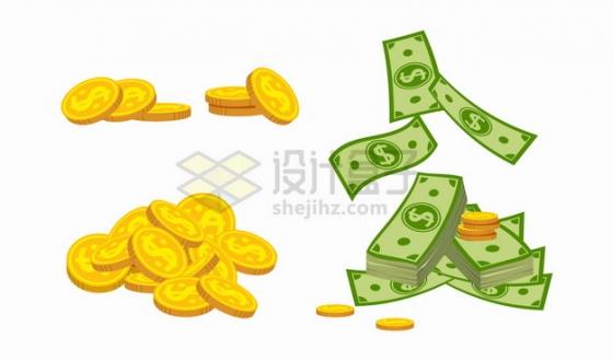 印有美元符号的金币硬币和散落的美元钞票png图片素材