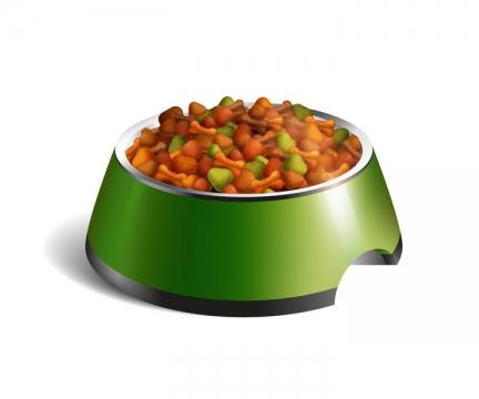 绿色狗食盆中的狗粮宠物食物图片免抠矢量素材