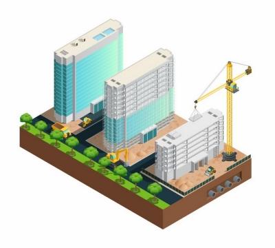 3D正在建设中的3栋高楼大厦塔吊建筑工地png图片免抠矢量素材