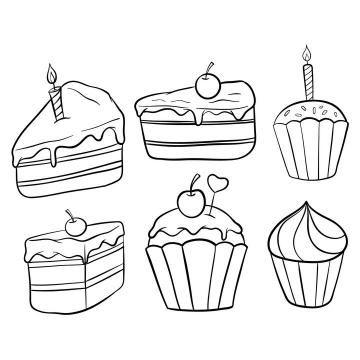 6种手绘线条简笔画生日蛋糕图片免抠素材