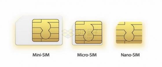 mini-sim/micro-sim/nano-sim手机卡大小对比图png图片免抠矢量素材