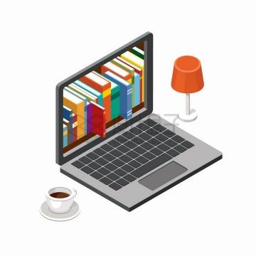 2.5D风格咖啡杯台灯和笔记本电脑上的图书网上书城png图片免抠矢量素材