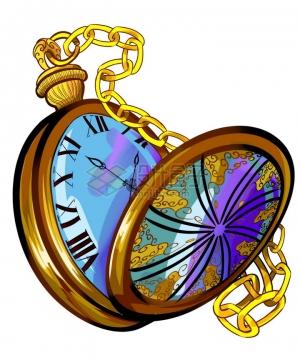 打开的怀表金表手表png图片免抠素材