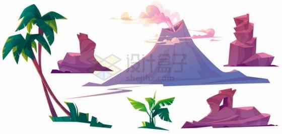 卡通高山怪石火山喷发椰子树芭蕉树等自然风光png图片素材