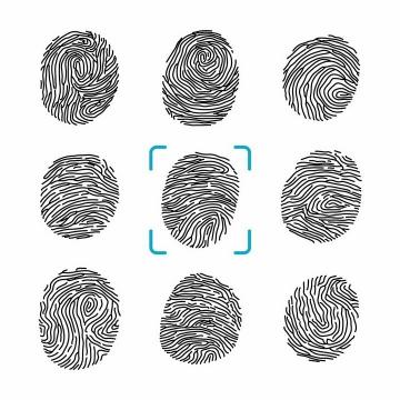 9种黑色线条手绘风格人体指纹图案png图片免抠矢量素材