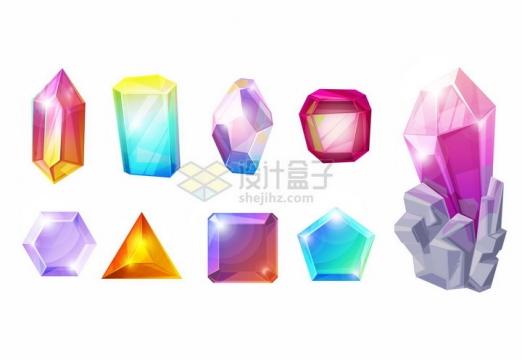 9款彩色绚丽的卡通水晶宝石png图片免抠矢量素材