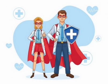 两个卡通医生身穿超人服象征了疫情下医生都是英雄png图片免抠矢量素材