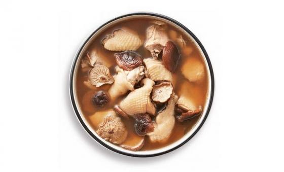 俯视视角的一碗香菇炖鸡汤美食图片免抠素材