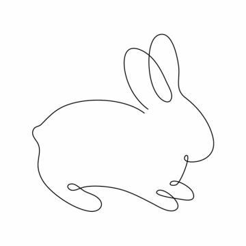 一根线条小兔子手绘插画简笔画952198png图片素材