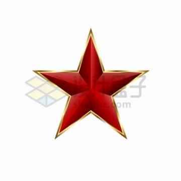 金色边框的红色3D立体五角星png图片素材