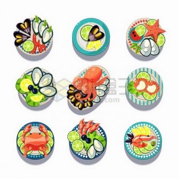 9款卡通扇贝贻贝海星章鱼螃蟹大虾等美味海鲜美食png图片免抠矢量素材