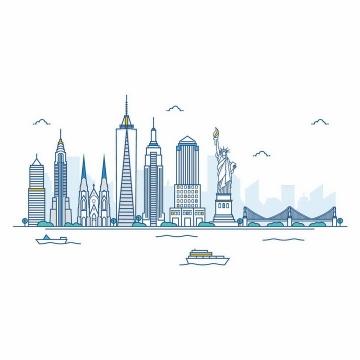 彩色线条高楼大厦自由女神像等纽约城市建筑天际线png图片免抠矢量素材