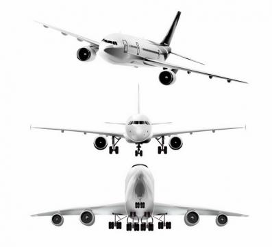 3个角度逼真金属银色大型客机飞机正面图png图片免抠矢量素材
