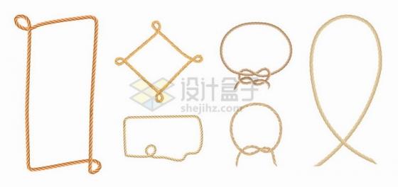绳子麻绳组成的边框对话框文本框标题框png图片免抠矢量素材