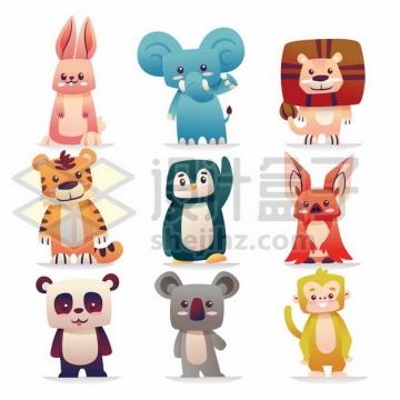 卡通兔子大象狮子老虎企鹅蝙蝠熊猫灰熊猴子878218png矢量图片素材