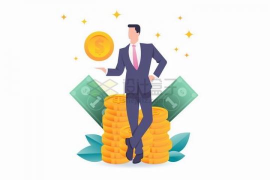 扁平插画风格西装商务人士拿着金币和背后的美元钞票png图片免抠矢量素材