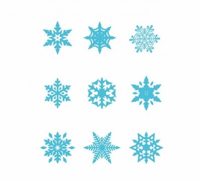 九款蓝色的雪花图案258712png图片素材