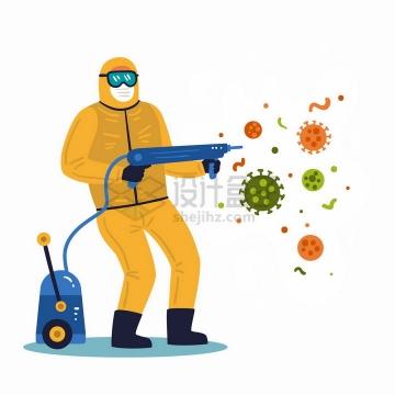 卡通医护人员身穿防护服杀灭新型冠状病毒扁平插画png图片免抠矢量素材