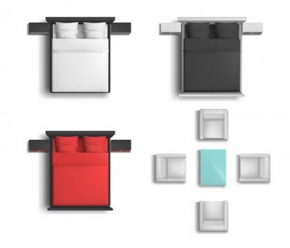 俯视视角的三种颜色的床和茶几沙发等家具平面图png图片免抠矢量素材