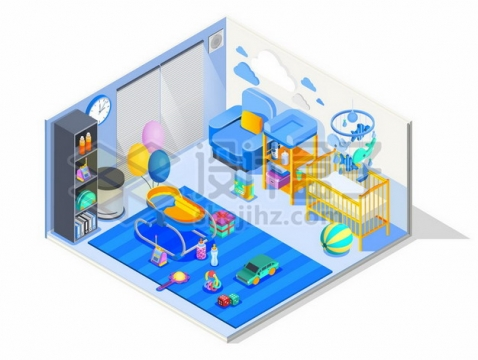 2.5D风格玩具摇篮等儿童房装修效果图427965免抠矢量图片素材