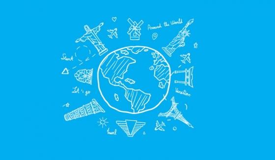 白色涂鸦手绘风格地球和世界各地知名景点png图片免抠矢量素材