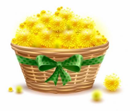 竹篮中放满了黄色的花朵png图片免抠矢量素材