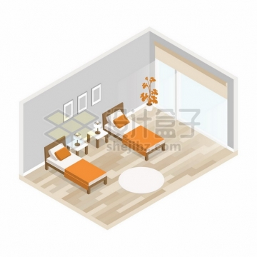 3D风格卧室房间中的两张单人床417987png矢量图片素材