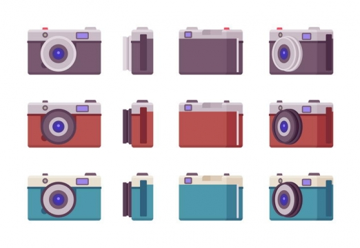 3款各种不同角度的扁平化照相机图片免抠矢量素材
