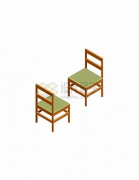 2.5D风格绿色椅子的正反面家具png图片免抠矢量素材