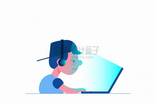 玩笔记本电脑的卡通年轻人网瘾png图片素材