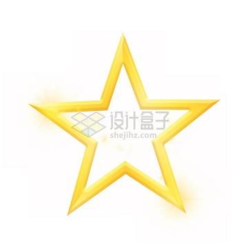 发光的空心金黄色五角星png图片免抠素材