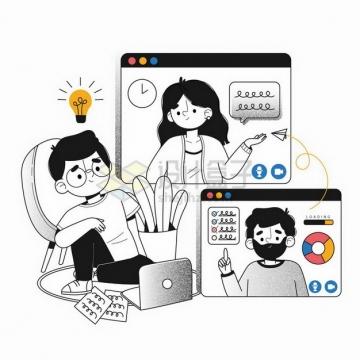 卡通员工远程会议远程办公手绘插画png图片免抠矢量素材