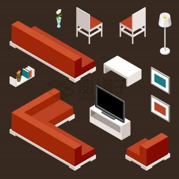 2.5D风格红棕色沙发椅子电视柜等家具png图片免抠矢量素材