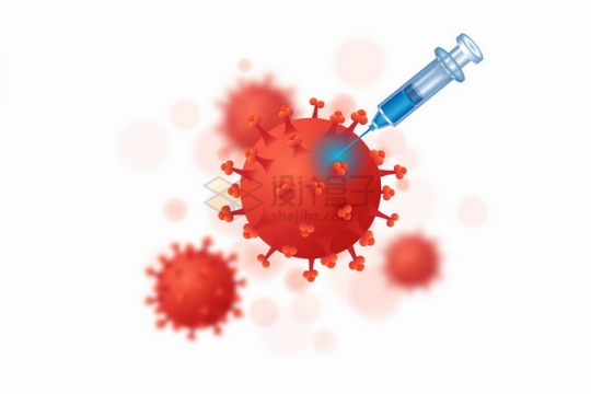 一次性注射器插在红色的3D立体新型冠状病毒png图片免抠矢量素材