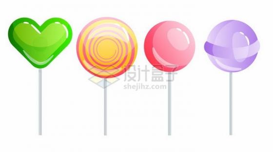 4款彩色棒棒糖糖果png图片免抠矢量素材