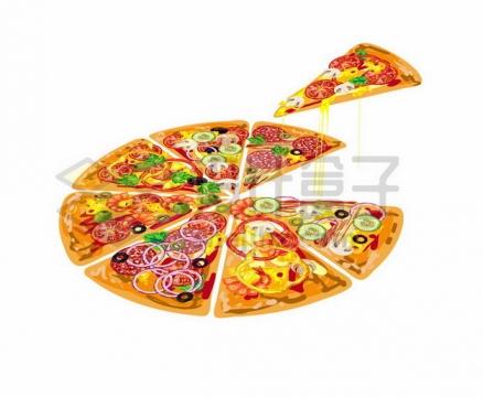 分成八份的披萨美味西餐306215免抠矢量图片素材