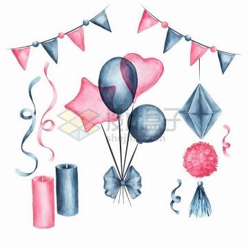 彩绘风格红色深蓝色气球生日蜡烛和彩旗png图片免抠矢量素材