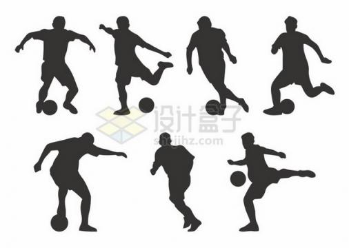 7款踢足球剪影804611png图片素材