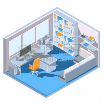 3D风格电脑桌书架沙发等书房装修效果图片大全246692png矢量图片素材