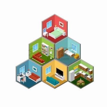 2.5D风格居民楼中的家具摆设布置png图片免抠矢量素材