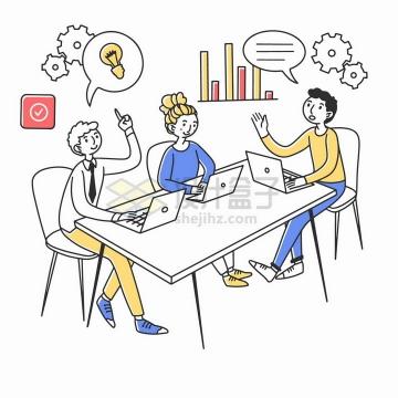 在一起开会激烈的讨论问题的年轻人商务人士手绘插画png图片素材
