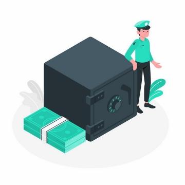 绿色扁平插画风格看守保险柜的警察保安png图片免抠矢量素材