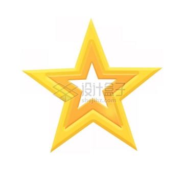 空心多层金黄色五角星png图片免抠素材