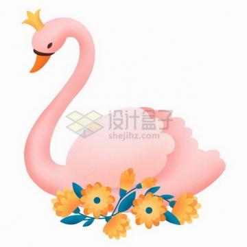 粉红色的天鹅彩绘插画png图片免抠矢量素材