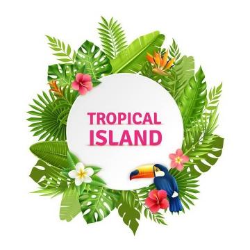 绿叶环绕巨嘴鸟装饰的圆形文本框标题框图片热带旅游免扣素材